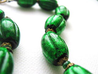 Vintage 1920s 30s art deco Czechoslovakian glass foil green glass bead necklace jewelry bohemian