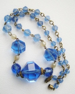 Vintage art deco 1920s 1930s bohemian Czechoslovakian blue crystal glass faceted bead rolled gold links necklace jewelry