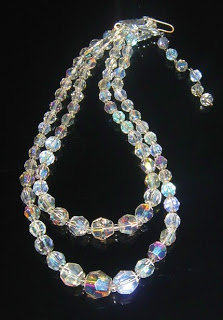 Vintage 1960s bridal wedding glass crystal ab bead necklace aurora borealis jewelry