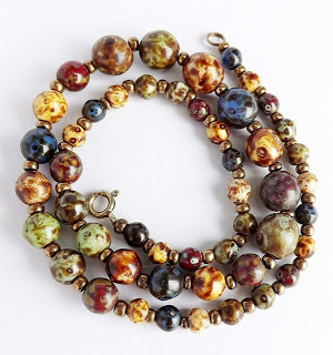 Vintage murano venetian speckled glass bead necklace jewelry