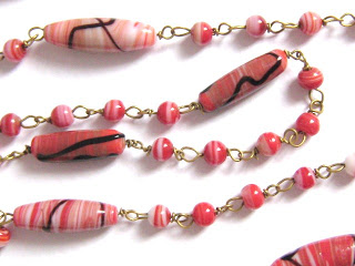 vintage orange white swirl end of day glass bead flapper necklace jewelry