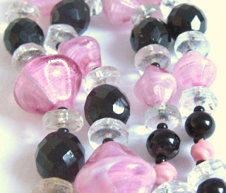 vintage art deco 1920s 1930s pink crystal swirl french jet black glass bead necklace jewelry