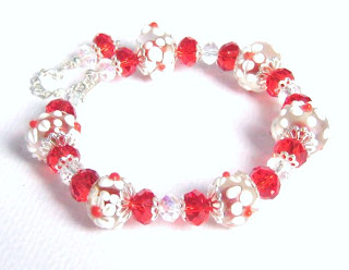 Lampwork flower glass bead charm bracelet crystal red jewelry