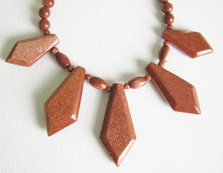 goldstone aventurine glass bead gold sparkle pendant collar necklace jewelry