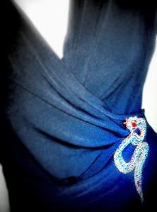 Vintage 70s huge snake rhinestone glass brooch jewelry
