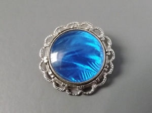 vintage 60s Morpho blue butterfly wing brooch jewelry