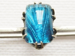 vintage butterfly wing foil blue tie pin bar brooch jewellery