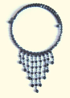 Marks and spencer glass paste necklace jewel black french jet jewelry