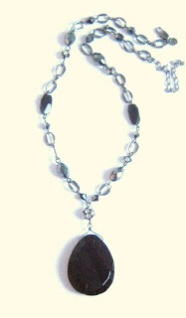 Marks and spencer glass paste necklace jewelry French Jet pendant