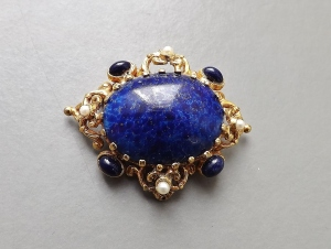vintage lazuli faux lapis glass gold brooch jewellery
