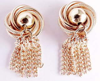 Vintage 1980s rose gold pink drop earrings clip on jewelry