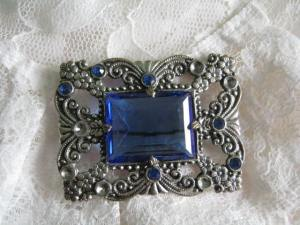 art deco blue glass paste brooch rhinestone silver (2)