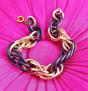 Vintage black enamel rose pink gold chain bracelet jewelry