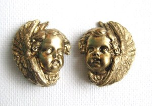 vintage cherub angel gold tone earrings clip (2)