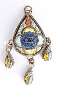antique vintage micro mosaic pendant roma jewellery