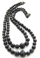 antique vintage victorian whitby jet two row bead necklace jewellery mourning