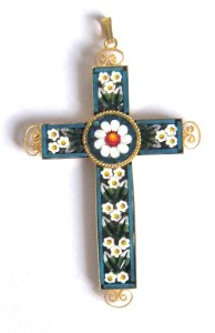 A cross standard mosaic pendant, made in the year 2000 in celebration of Christ's birth.