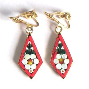 Vintage 80s micro mosaic clip on drop flower earrings