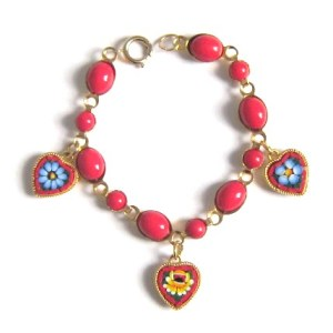 Vintage 1970s heart flowers red micro mosaic charm glass bracelet