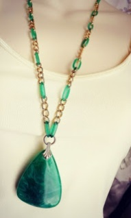 Vintage 1980s chunky statement green plastic Lucite pendant and gold tone chain necklace jewelry