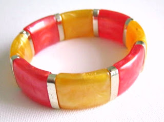 Vintage 1980s yellow red mop shimmer Lucite bracelet panel jewelry