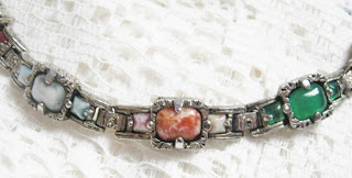 Vintage costume jewellery Scottish agate glass paste stone brooch bracelet