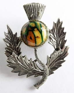 Scottish Celtic Heathergems thistle stone brooch jewelry