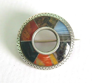 Antique Victorian Scottish agate plaid brooch silver jewellery