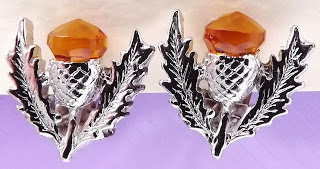 vintage scottish agate earrings citrine thistle clip ons