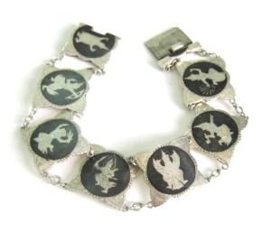 siam silver niello rare figures bracelet jewellery