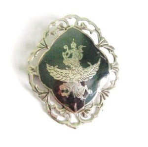 Vintage Siam Silver brooch, showing Garunda, qa winged mythical creature and the emblam of the Thai Royal family