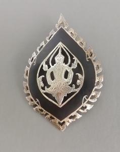 vintage siam silver kinnera niello brooch (3)