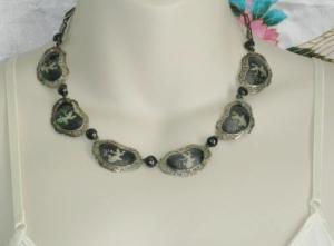 vintage siam silver nang fa collar pendant necklace niello (1)