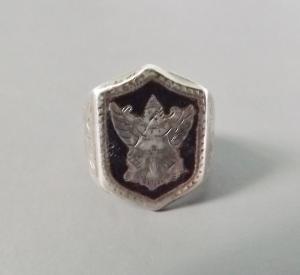 A rare vintage Siam silver ring example of Garuda (Garunda) on his own, without the Hindu God Vishnu.