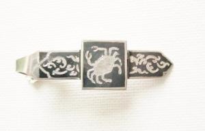 vintage siam silver niello tie clip crab taurus (2)