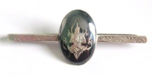 Vintage Siam Silver niello tie clip pin, depicting Thepanom, a Thai guardian angel diety