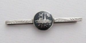 Vintage Siam Silver niello tie clip pin jewelry (2)