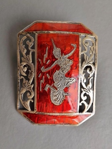 vintage siam silver orange red brooch enamel (2)