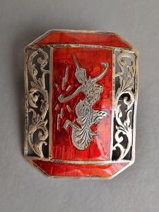 vintage siam silver orange red brooch enamel (2)