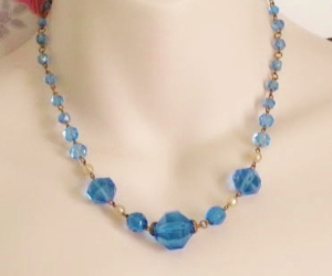 art deco blue glass crystal faceted bead necklace boho 30s jewellery