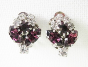 vintage 1970s purple marquise glass rhinestone clip earrings