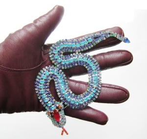 vintage 1970s snake brooch large blue red glass diamante rhinestone jewellery