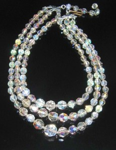 Vintage 3 row AB crystal necklace bead bridal jewellery