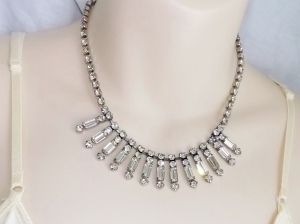 vintage 50s glass paste rhinestone baguette bridal tassel drop necklace jewelry