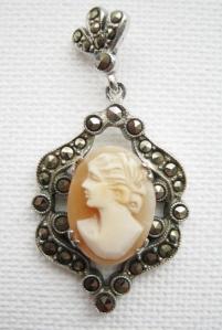vintage 60s marcasite shell cameo drop deco pendant