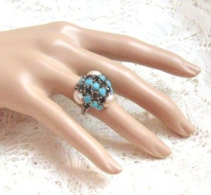 Vintage turquoise, pearl and black diamante rhinestone cocktail ring 1970s jewellery