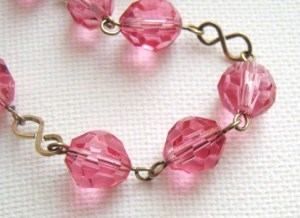 vintage rolled gold pink deco glass bead necklace