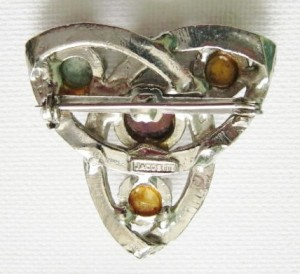 vintage jacobite glass stone agate celtic trifoil brooch