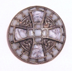 Vintage Scottish Celtic glass agate brooch signed Miracle