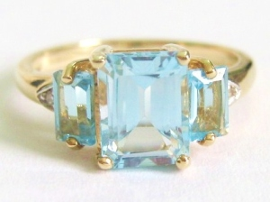 9k yellow gold blue topaz trilogy ring jewellery 9ct